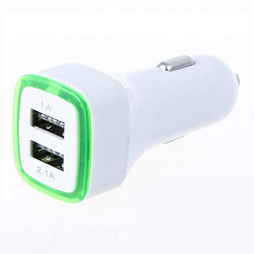 Doppio Adattatore LED Presa accendisigari USB per ASUS Zenfone Max PRO Smartphone Doppio 2 Porte Auto Caricatore Universale (Verde)