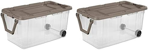 Ultra Storage Bin 2pc Clear Weathertight 40gal Box with Handle Portable Container Latching Lid product image
