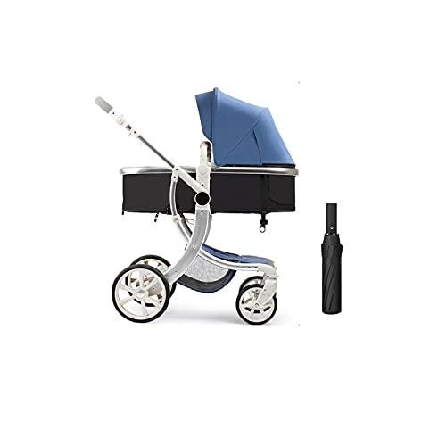 TOKUJN 2 en 1 Cochecito, Cochecito bebé y Cochecito Reversible Cochecito Ajustable PU Canopy de Cuero recién Nacido a un niño, fácil de Plegar, Ligero, Azul