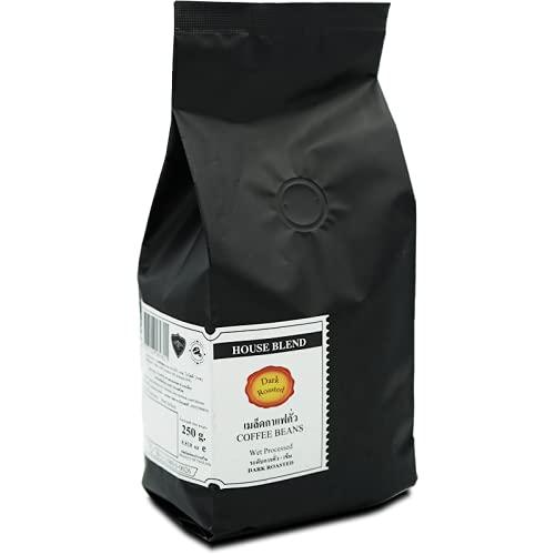 Roasted Coffee Beans, HOUSE BLEND, Single farm, Single Origin THAILAND, 50% Arabica / 50% Robusta, Dark Roasted, (Bag 250g/8.82 Oz) by CAFE R'ONN