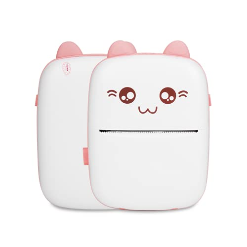 Mini impresora fotográfica, impresora térmica de bolsillo fácil, soporte para iOS Smartphone Mini foto impresora de imagen (rosa)