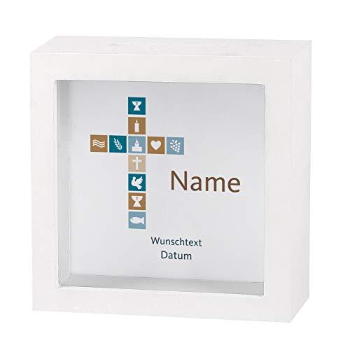 Striefchen® Spardose zur Taufe/Geburt/Kommunion/Konfirmation eines Kindes mit Namen und Geburtsdatum als Geldgeschenk Kreuz Jungen