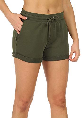 icyzone Damen Sweat Shorts Sport Kurze Hose Laufshorts Jogginghose mit Taschen (L, Army Green)