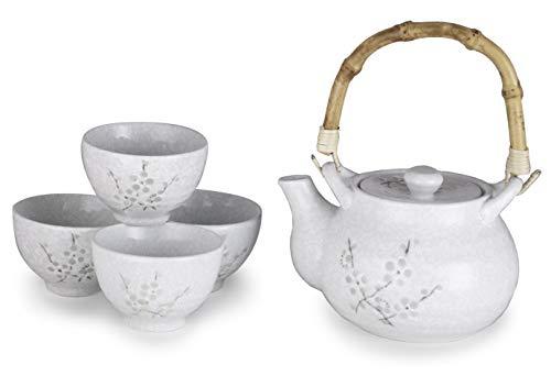 Hinomaru Collection Kagetsu Teeset aus glasiertem Porzellan, japanischer Sakura Kirschblüten-Teeservice, 625 ml Teekanne mit Rattan-Griff und vier Teetassen Weißer Schnee