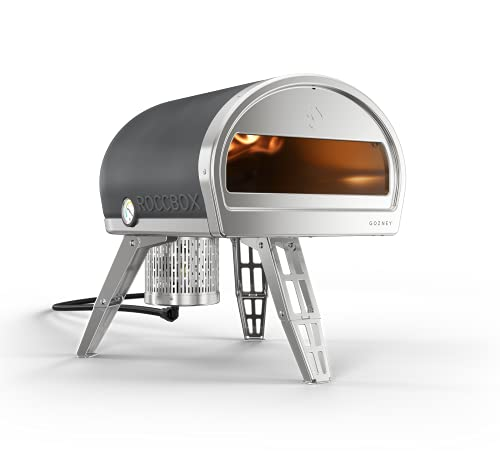 ROCCBOX Gozney Portable Outdoor Pizza Oven - Includes Professional Grade Pizza Peel, Built-In Thermometer and Safe Touch Silicone Jacket - Propane Gas Fired, With Rolling Wood Flame - Grey