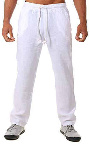 Young & Rich Herren Leinenhose Sommerhose 100% Leinen mit Kordelzug Straight Regular Fit S4103, Grösse:M, Farbe:Weiß