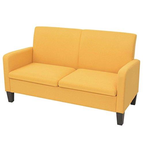 UnfadeMemory Stoffsofa Polstersofa Loungecouch Stoffbezug Kiefernholz Sofarahmen Sofagarnitur Modern Design Couch Komfortabl Wohnzimmersofa für 2-3 Sitzer (Gelb, 135 x 65 x76 cm)