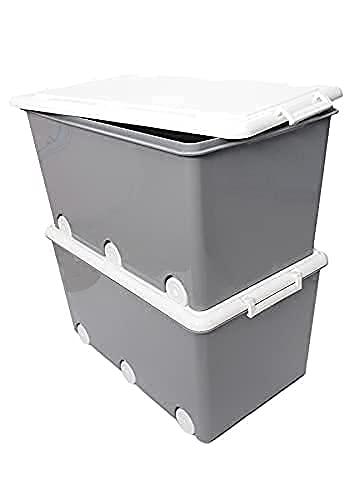 LAPSI® Spielzeugkiste, Aufbewahrungsbox mit 6 Rollen mit Deckel auf Rädern Grau Eule - 6