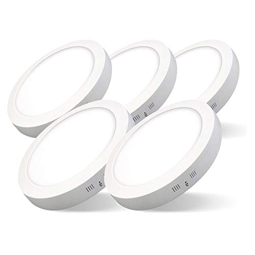 Pack de 5 Plafones LED Circulares ARIES · Downlight LED Redondo de Superficie de 12W con Chip Interior OSRAM · 1440 Lm · 6500K Luz Blanca Fría · 160mm Ø [Clase Energética A++]