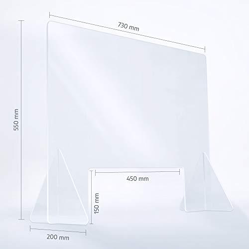 reflecto Spuckwand | 100cm oder 73cm breit | Thekenaufsatz mit Durchreiche | Nies- und Spuckschutz gegen Tröpfcheninfektionen | transparente 5mm Kunststoffbarriere zum Virenschutz (73 x 55 cm)