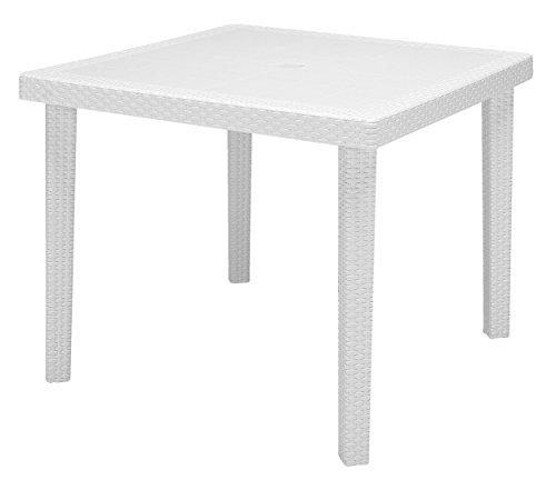 Keter - Mesa de comedor exterior Quartet de 4 plazas, Color blanco