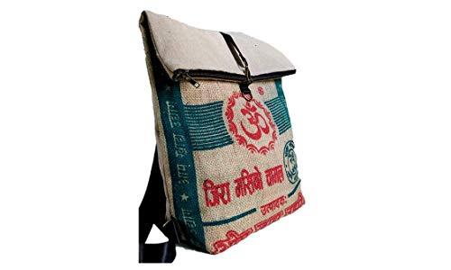 Shakti Milan   Handgefertigter Rucksack Om Hanf   Upcycled aus Alten Reis- oder Linsensäcken   Made in Nepal