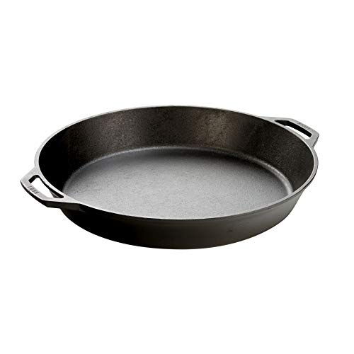 Lodge Seasoned Cast Iron Skillet with 2 Loop Handles  17 Inch Ergonomic Frying Pan