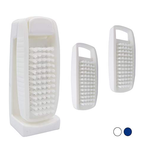 3er Set Nagelbürste mit Halterung – Handwaschbürste mit Wandhalterung – Handbürste zum Aufhängen, Nagelbürsten mit Halter – Bad Waschbürste mit Wandhalter – Handbürsten Bürste Made in Germany (Weiß)