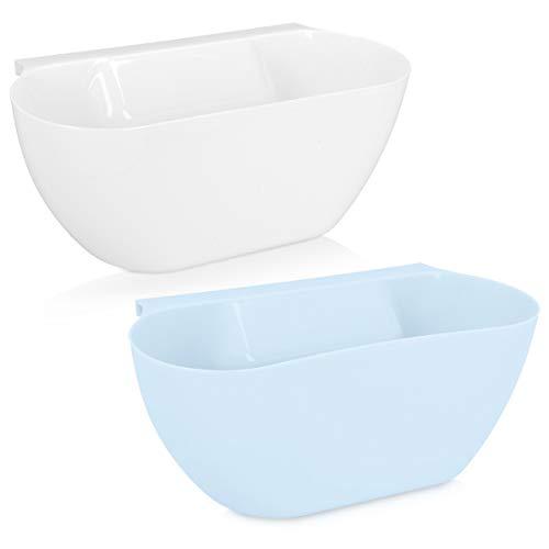 Navaris 2x Auffangschale für Küchenabfälle zum Einhängen - 2er Set Mülleimer Abfall Behälter für Bio Müll - Abfalleimer in Blau Weiß