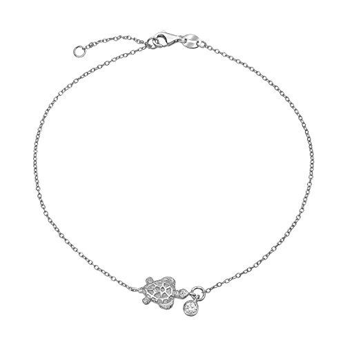 Nautisch Turtle Leben Meer CZ Akzent Fußkettchen Armband Für Damen 925 Sterling Silber Einstellbar 9 Bis 10 Zoll