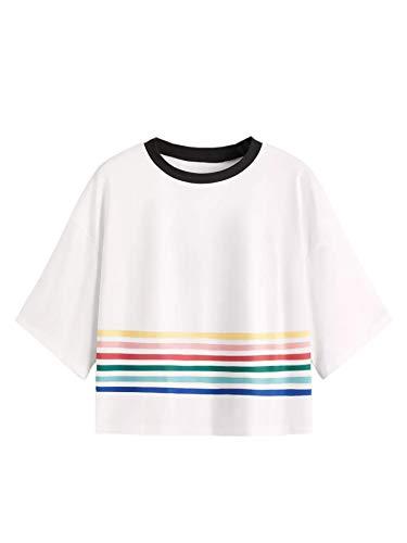 SweatyRocks Women's Striped Ringer Crop Top Summer Short Sleeve T-Shirts White Stripe Large