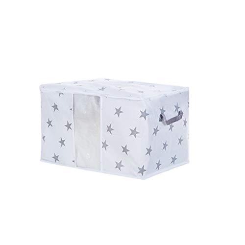 Delicacydex Respirant Visible non-tissé organisateur lit ménage sac de rangement placard vêtements diviseur organisateur porte-sac de courtepointe - blanc et gris L