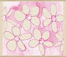 Watercolor Daisy Background Wood Mounted Rubber Stamp (H3917) Background Mounted Rubber Stamp