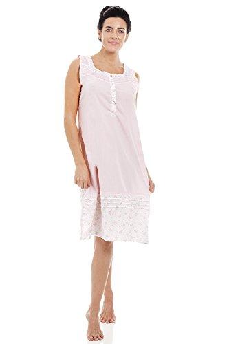 Camicia da Notte Senza Maniche con Motivo Floreale Rosa Chiaro 46/48