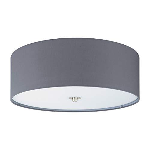 Plafón LED EGLO PASTERI, plafón textil con 3 bombillas, material: acero, textil, vidrio, color: níquel mate, gris, casquillo: E27, Ø: 47,5 cm