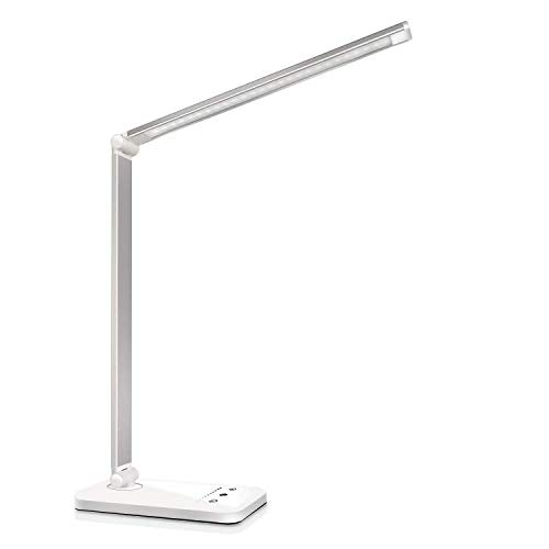 Desk lamp,Eye-CaringTable Lamp,Dimmable Bedside lamp with USB Charging Port, 5 Modes x 10 Brightness Levels,Touch Control, Auto Timer 30 / 60min for Home,Office,Bedroom,Reading,Work,Study