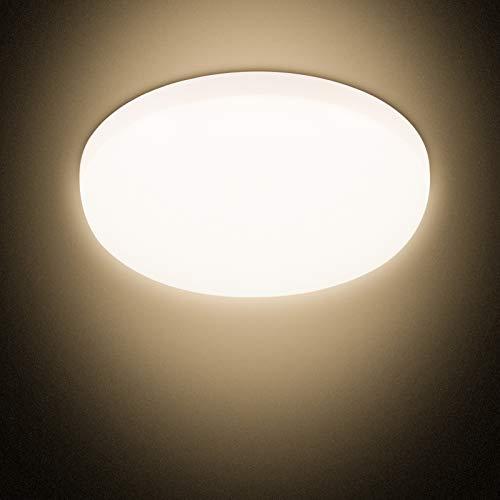 Combuh LED Deckenleuchte 30W Wasserdicht IP56 2400LM Warmweiß 3000K Schnelle Installation Deckenlampe füR Lounge, Badezimmer, BüRo, Veranda, Garage, Draussen Ø25cm