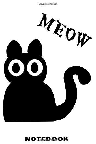 MEOW Notebook: Liniertes Notizbuch mit schräger Katze Design für Männer und Frauen