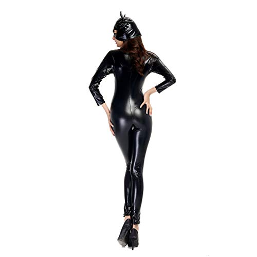 Beaums Frauen PU-Leder-Catsuit Cosplay Halloween Katzenmaske Catsuit, Katze Catsuit Bodysuit, Halloween-Katze Jumpsuit Sexy Body