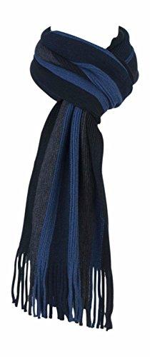 Giovanni Cassini - Ensemble bonnet, écharpe et gants - À Rayures - Homme multicolore Blue/Grey Mix