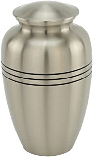 Silverlight Urns Classic Three Bands Pewter Cremation Urn, Funeral Urn for Human Ashes, Silver, Adult Sized Urn for Cremated Ashes