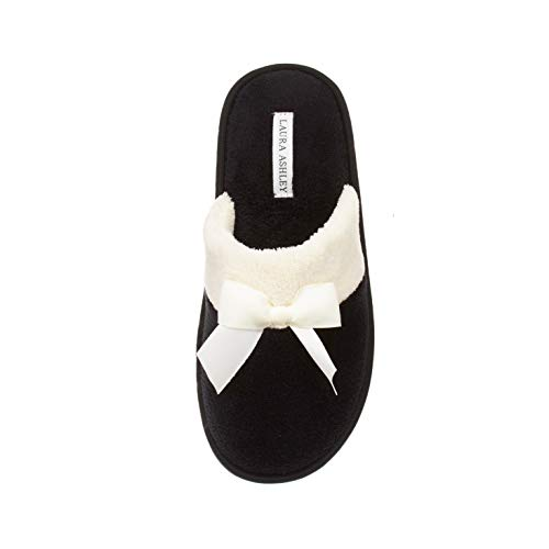 Laura Ashley Ladies Terry Scuff Slipper with Bow, Black, Large
