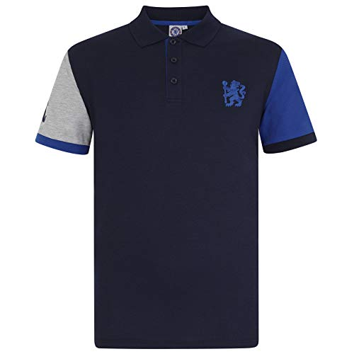 Chelsea FC Official Soccer Gift Mens Contrast Sleeve Polo Shirt Navy Large