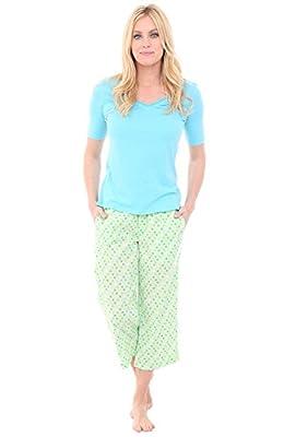 Alexander Del Rossa Womens 100% Cotton Pajamas, V-Neck Knit Top Woven Bottom Pj Set, XL Mint Dots with Blue Top (A0573V59XL) from Alexander Del Rossa