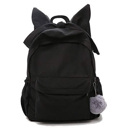 Chezhan -2019 süße Dame nett Ohr einfacher Rucksack Schön (Color : Black, Size : 28 * 10 * 38cm)