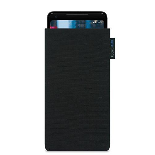 Adore June Classic Schwarz Tasche für Google Pixel 3 XL/Pixel 2 XL Handytasche aus beständigem Cordura Stoff | Robustes Zubehör mit Bildschirm Reinigungs-Effekt | Made in Europe