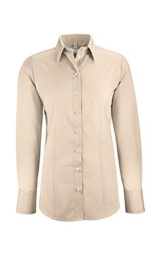 GREIFF Damen-Bluse Basic, Regular Fit, Stretch, Easy-Care, 6515, Farbe: Beige, Größe: 48