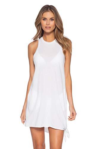 Becca by Rebecca Virtue Women's Tie Side Tank Dress Swim Cover Up White XS/S
