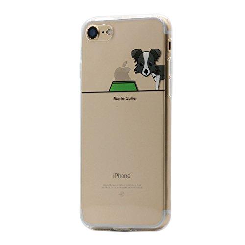 Keyihan iPhone 8/7 Hülle, Niedlich Haustier H&e & Seine Näpfe Muster Ultra Dünn Schlank Leicht Durchsichtig klare Transparent Weiche TPU Schutzhülle für Apple iPhone 7 8 (Border Collie)
