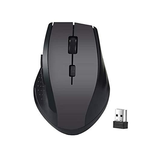 L-sister Reproductor de ratón inalámbrico de alta precisión USB Play 2,4 GHz, receptor de 6 teclas, ratón profesional para ordenador, ordenador, portátil, mejor sensibilidad (color gris)
