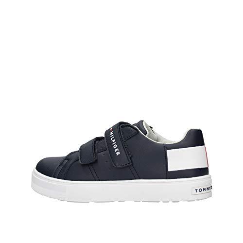 Tommy Hilfiger - Zapatillas de deporte para jóvenes, color azul, rojo y blanco, color Azul, talla 37 EU
