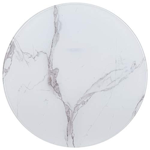 UnfadeMemory Tischplatte Glas Tischplatten ideal als Ersatzteil Glasplatte in Marmoroptik DIY Tisch für Esstisch Couchtisch Beistelltisch oder Gartentische(Rund Ø90 cm, Weiß)