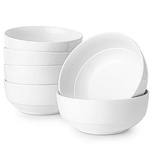 Artena Elegant Bright White Serving Bowls for Soup Cereal Salad Desserts Porcelain bowls set of 6-6.35 inches(28OZ) Microwave Oven safe