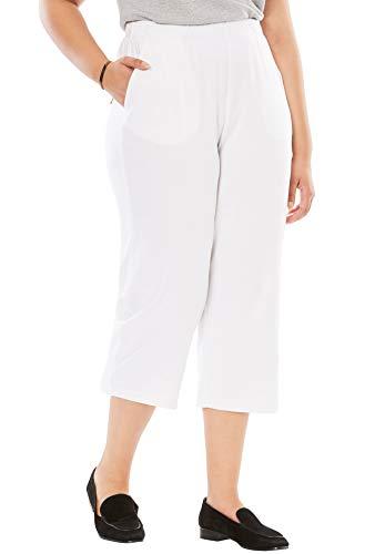 Woman Within Women's Plus Size 7-Day Knit Capri - 1X, White