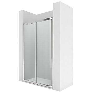 Roca AM17116012 - Frontal ducha 1 puerta corredera con 1 segmento fijo enmarcada y guía inferior entre paredes o para lateral lf: Amazon.es: Bricolaje y herramientas