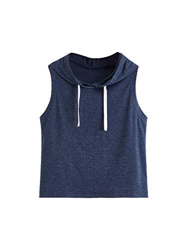SweatyRocks Women's Summer Sleeveless Hooded Crop Tank Top T-Shirt Deep Blue Small
