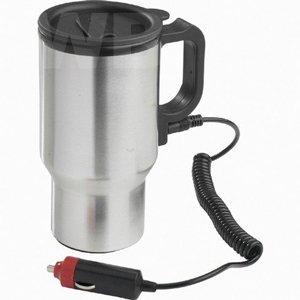 CostMad Beheizbarer Thermo-Becher, Kfz-Zigarettenanzünder-Anschluss, dicht verschließbarer Deckel, Edelstahl, 12 V, 450 ml