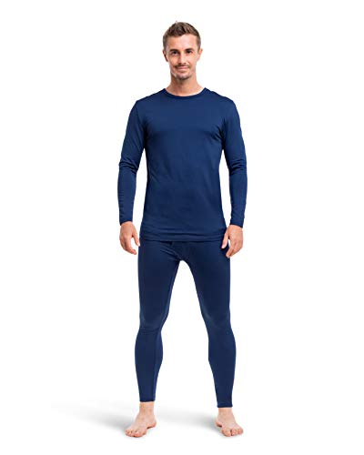Mens Ultra-Soft Thermal Underwear 2 Piece Long Johns for Men with Fleece Lining Navy