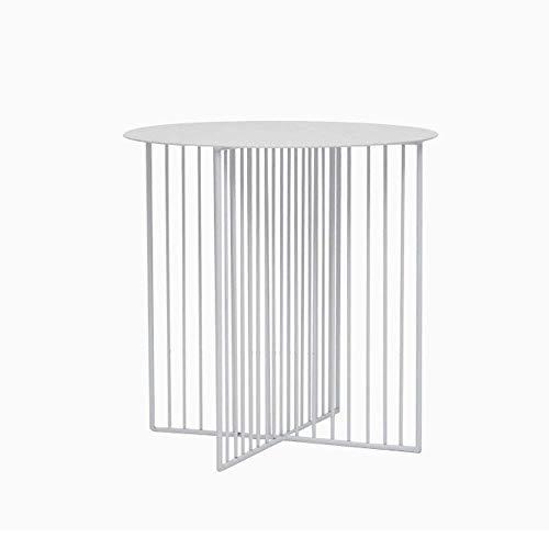 Home&Selected fineer/eenvoudige Scandinavische sofa rond metalen kant salontafel balkon telefoontafel vrijetijdstafel potplant (kleur: wit, maat: 70 x 45 cm) 45*45cm Wit