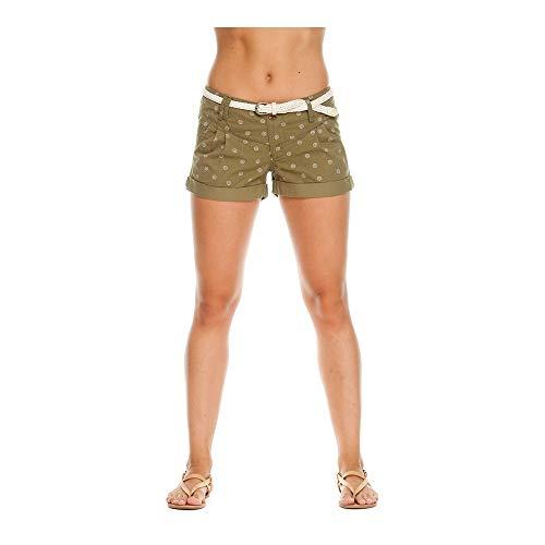 Ragwear Heaven Organic Damen,Shorts,Kurze Hose,Sommerhose,vegan,Stretch,mit Gürtel und Zwei Taschen,Olive,27